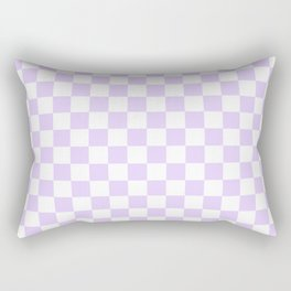 Large Chalky Pale Lilac Pastel Color and White Checkerboard Rectangular Pillow