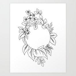 White Floral Circle Art Print