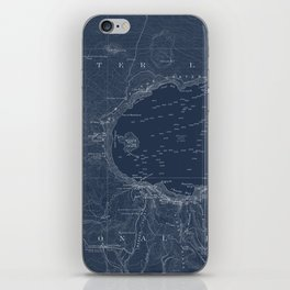 Crater Lake Blueprint Map Design iPhone Skin