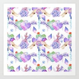 Bohemian pink watercolor dreamcatcher heart cactus floral Art Print