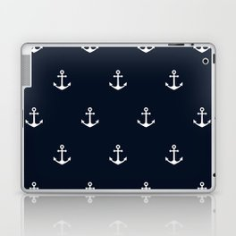 Dark Blue Anchor Pattern Laptop & iPad Skin