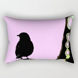 Spring mood - singing bird - black bird on a pink background Rectangular Pillow