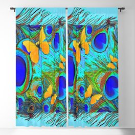 BABY BLUE YELLOW BUTTERFLY PEACOCK FEATHER PATTERN Blackout Curtain