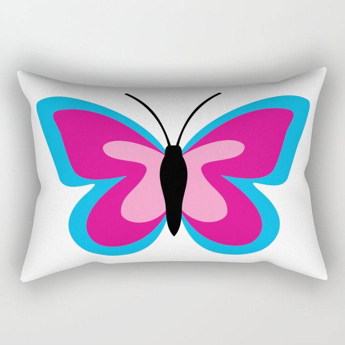 Blue Pink Butterfly - White Background Rectangular Pillow