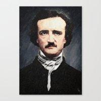 edgar allan poe Canvas Prints featuring Edgar Allan Poe by Taylan Soyturk