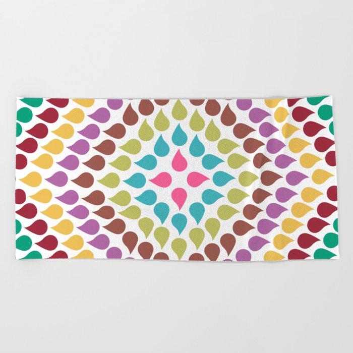 Seamless Colorful Raindrops IV Beach Towel