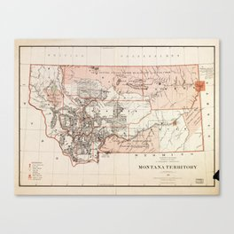 Map of Montana Territory by Charles Roeser (1879) Canvas Print