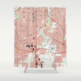 Fort Worth Texas Map (1995) Shower Curtain