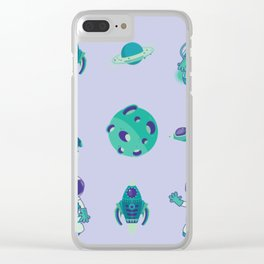 Outer Space Pattern Astronauts Rocket Ship Space Ship Purple Turquoise Clear iPhone Case