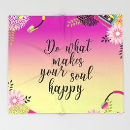 Floral Garden Do What Makes your soul happy Retro Throw Blanket