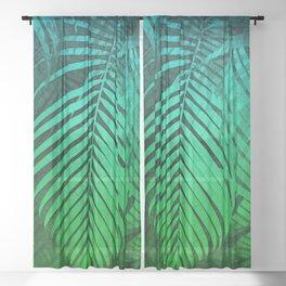 TROPICAL GREEN BLUE LEAVES Sheer Curtain