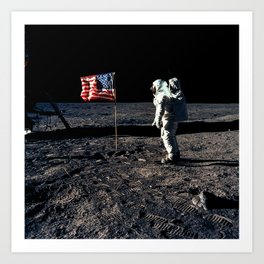 Buzz Aldrin and the U.S. Flag on the Moon Art Print