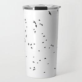 The Black Birds (Black and White) Travel Mug