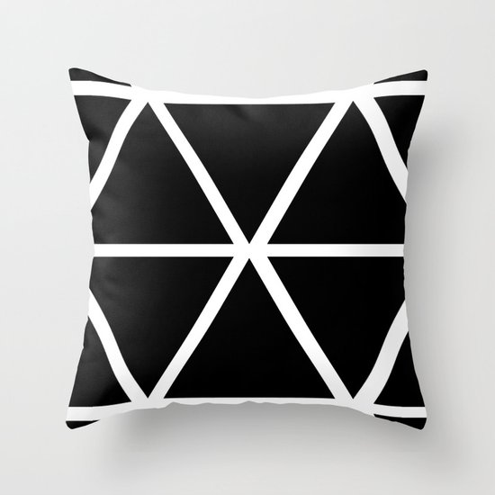BLACK & WHITE TRIANGLES Throw Pillow
