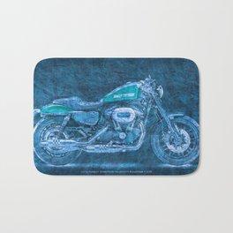 2016 Harley Sportster Roadster 1200 BLUE, motorcycle art for men Bath Mat