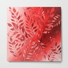 Monochrome  Leaf Arrangement (Red) Metal Print