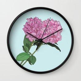 Peonies Illustration Wall Clock