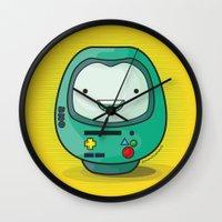 bmo Wall Clocks featuring Daruma: BMO by Monstruonauta