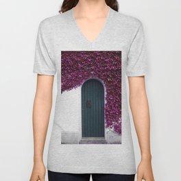 Purple Ivy Vine Doorway Photograph Unisex V-Neck