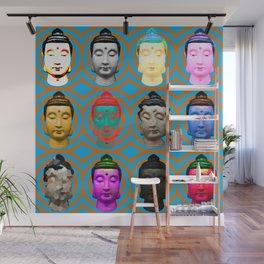 Buddha Heads Wall Mural