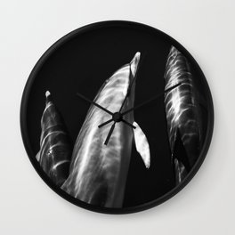 Black and white dolphins Wall Clock