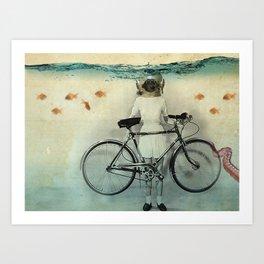 The diving bell cyclist Art Print