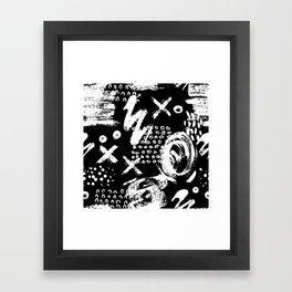 White chalk brush on black Framed Art Print