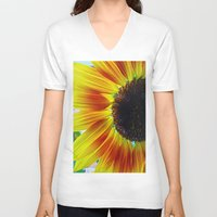 sunflower V-neck T-shirts featuring Sunflower by Frankie Cat