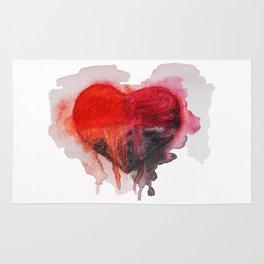 Watercolor heart Rug