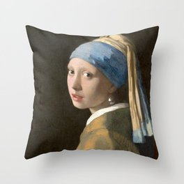 Girl with a Pearl Earring (1665), Old Masters Collection Throw Pillow