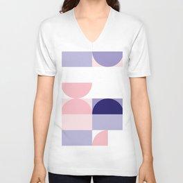 Minimal Bauhaus Semi Circle Geometric Pattern 2 - #bauhaus #minimal Unisex V-Neck