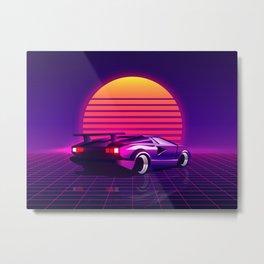 Retro Vaporwave Street Racer Metal Print