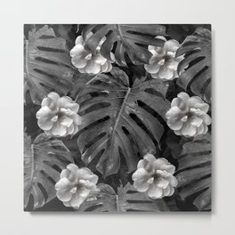 Flowers and leaves black and white Metal Print
