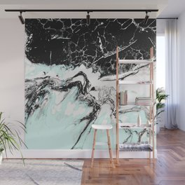 mint black and white marble Wall Mural