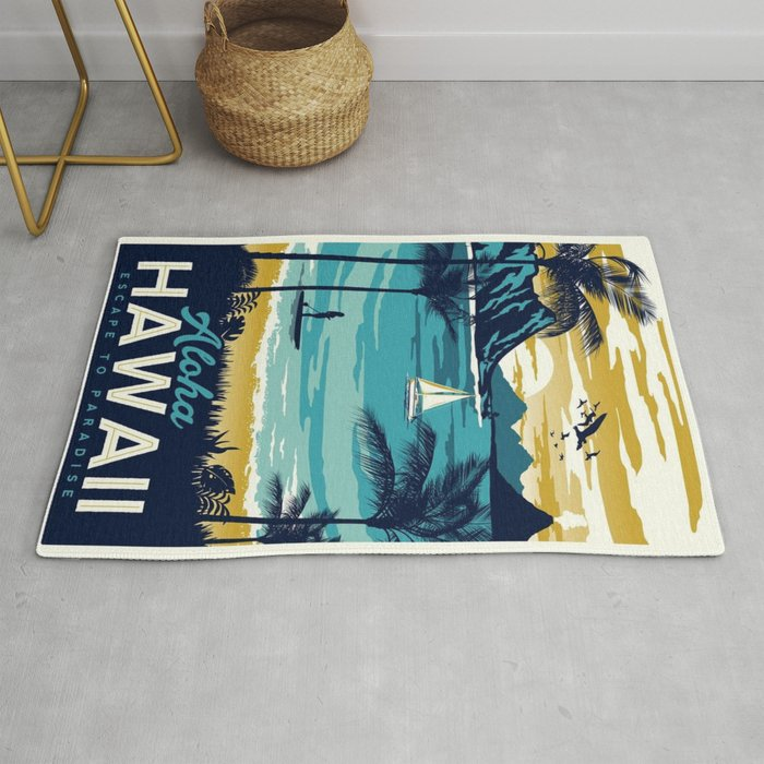 Vintage Poster Hawaii Rug By Mosfunky