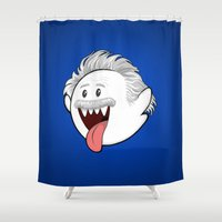 boob Shower Curtains featuring Boo Einstein by Olechka