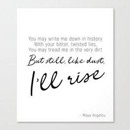 I'll rise #minimalism Canvas Print