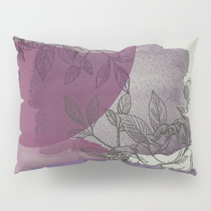 Purple and Gray Floral Pillow Sham