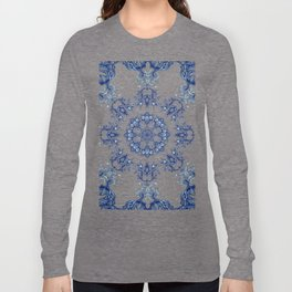 blue garden mandala Long Sleeve T-shirt
