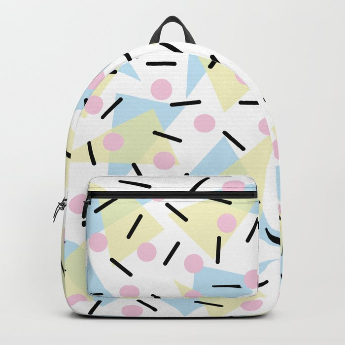Funky Memphis Confetti Party Pattern Blue Pink Yellow Backpack