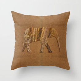 Rainforest Elephant - Tribal African Art Style Throw Pillow