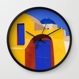 Blue Doors on a Yellow Wall - Santorini, Greece - Minimal, Romantic Travel Painting Wall Clock
