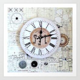 Technical Sketches Clock Art Print