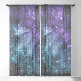 Purple Teal Galaxy Nebula Dream #1 #decor #art #society6 Sheer Curtain