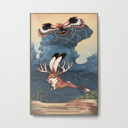 Jackalope and Thunderbird Metal Print