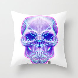 Cyber Skull Throw Pillow