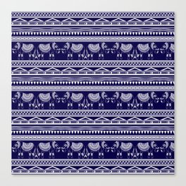 White and Navy Blue Elephant Pattern Canvas Print