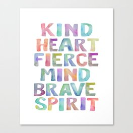 Kind Heart Fierce Mind Brave Spirit Printable Tribal Nursery Quote Girl Tribal Decor Tribal Wreath Canvas Print