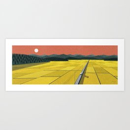 Sunset on rice field II Art Print