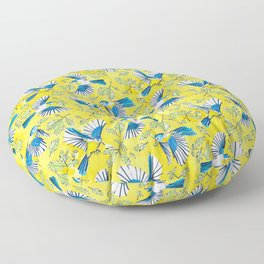 Flying Birds and Oak Leaves on Yellow Floor Pillow